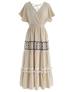 Vestido cruzado de lino My Only Wish Boho