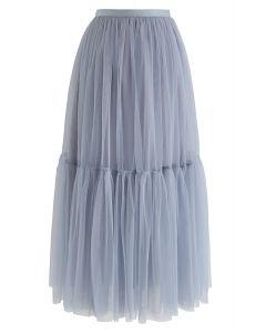 No puedo dejar ir la falda de tul de malla en azul polvoriento