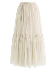 No puedo dejar ir la falda de tul de malla en crema