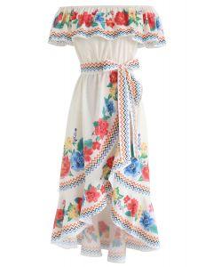 Verás el vestido asimétrico floral de la cascada