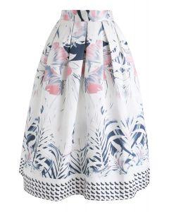 Falda midi estampada con flores en toda regla