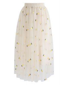 Falda de malla bordada Cuteness Overload Pineapple