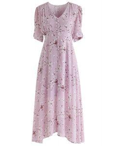 Increíble vestido de gasa con florete Grace en rosa