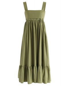 Vestido midi sin espalda Joyful Aspects en verde militar