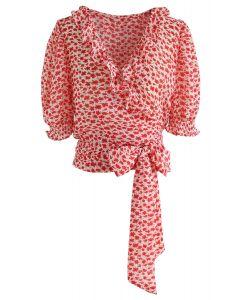 Ata un top envuelto con florete bowknot en rojo