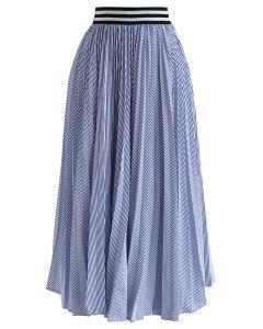 ¿Escuchaste esa falda plisada de rayas en azul