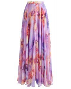 Falda larga acuarela de flores en color lila