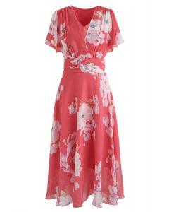 Vestido de gasa floral Sweet Surrender en rojo