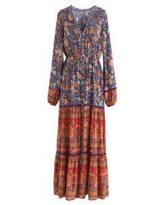 Vestido largo floral psicodélico de Boho