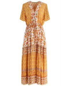 Vestido largo floral de Boho Bomshell en mostaza