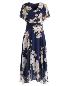 Vestido de gasa floral Sweet Surrender en azul marino