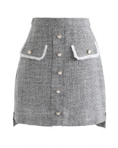 Ease My Mind Bud Skirt in Grey