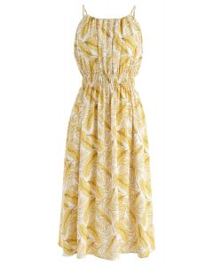 Vestido a media pierna con cuello halter de Field of Palm en amarillo
