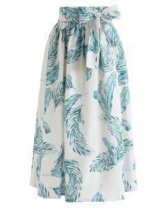 Falda midi estampada Hands on Me Leaves en marfil