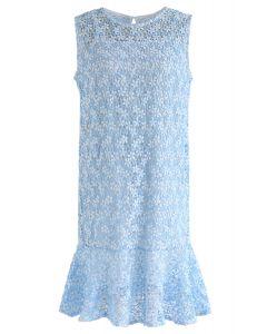Nuevo vestido sin mangas de ganchillo Love en azul