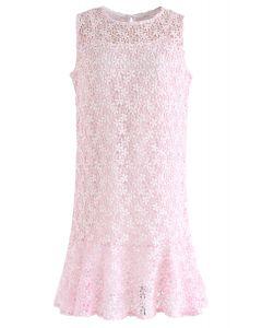 Nuevo vestido sin mangas de ganchillo Love en rosa