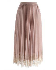 Falda de malla de encaje plisado Last Dance en bronceado