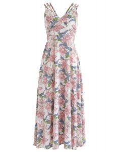Vestido estilo camisola con espalda cruzada y estampado de lirio Sunday perfecto