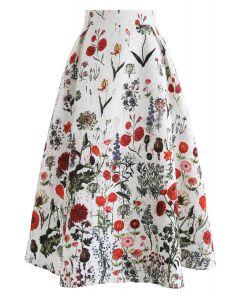 Falda Midi Estampada con Estampado Floral Multi