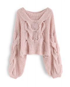 Jersey de mangas de hojaldre tejido a mano en rosa