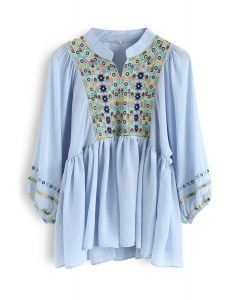 Puff Sleeves Boho Top Dolly bordado en azul