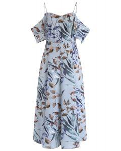 Vestido largo con hombros descubiertos y estampado de hojas