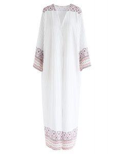 Kimono largo estampado a rayas estilo boho