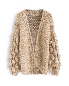 Cuteness on Sleeves Cardigan largo de punto grueso en camel