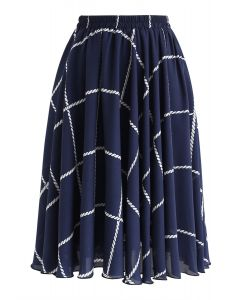 Falda de gasa a cuadros con diseño de cuadros
