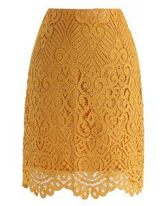 Falda de crochet completa en mostaza