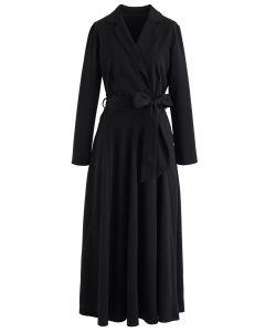 Vestido largo cruzado con lazo cruzado en negro