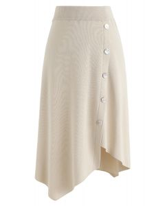 Shell Buttons Trim Asymmetric Knit Skirt in Cream