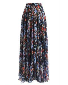 Falda larga acuarelas en flor de lirio en negro