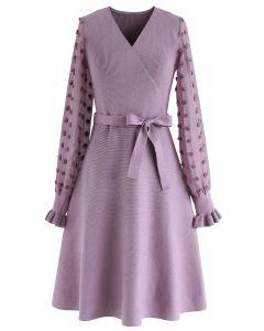 Vestido de punto cruzado There You Go en violeta