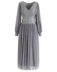 Double-Layered Mesh Lace Maxi Dress