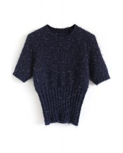 Shiny and Fluffy Short Sleeves Knit Sweater in Navy