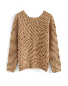 Bowknot Cutout Back Ribbed Knit Sweater in Tan