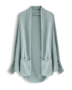 Open Front Drape Knit Cardigan in Blue