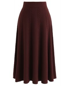 Braid Texture A-Line Knit Midi Skirt in Caramel