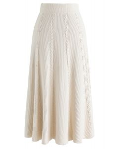 Braid Texture A-Line Knit Midi Skirt in Cream