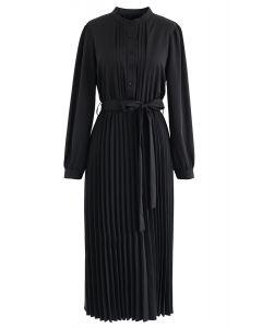 Self-Tied Bowknot Pleated Midi Dress in Black