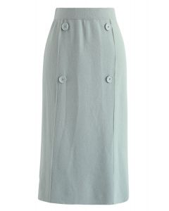 Button Trim Knit Midi Skirt in Mint