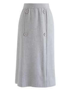 Button Trim Knit Midi Skirt in Grey