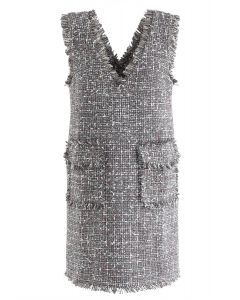 Flap Pockets Tweed V-Neck Shift Dress in Grey