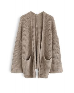 V-Shape Cutout Back Knit Cardigan in Caramel