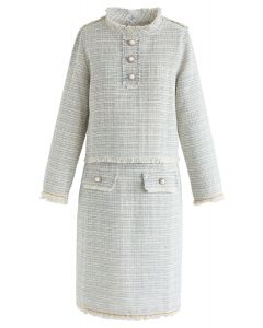 Raw Edges Tweed Top and Skirt Set in Ivory