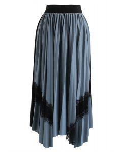 Lace Trims Asymmetric Pleated Midi Skirt in Dusty Blue