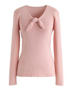 V-Neck Bowknot Long Sleeves Knit Top in Blush Pink