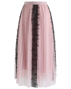 Lace Trim Mesh Tulle Midi Skirt in Pink
