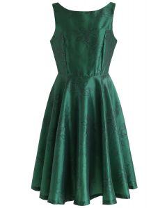 Emerald Vintage Flower Sleeveless Midi Dress